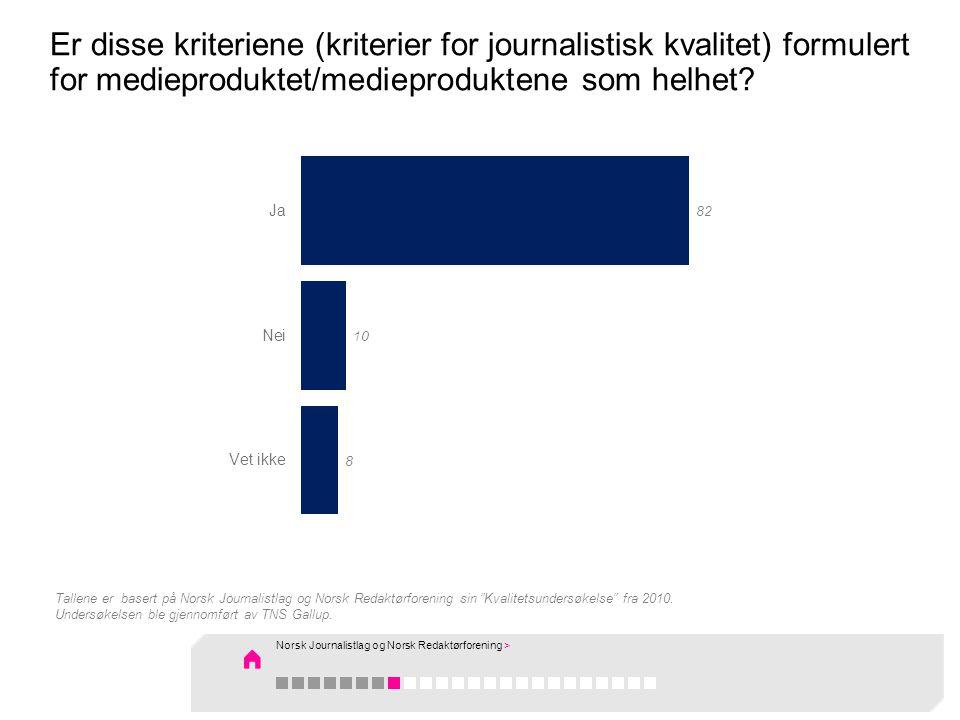 Er disse kriteriene (kriterier for journalistisk kvalitet) formulert for medieproduktet/medieproduktene som helhet.