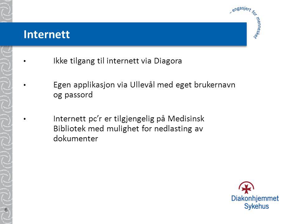 Internett • Ikke tilgang til internett via Diagora • Egen applikasjon via Ullevål med eget brukernavn og passord • Internett pc'r er tilgjengelig på Medisinsk Bibliotek med mulighet for nedlasting av dokumenter 6