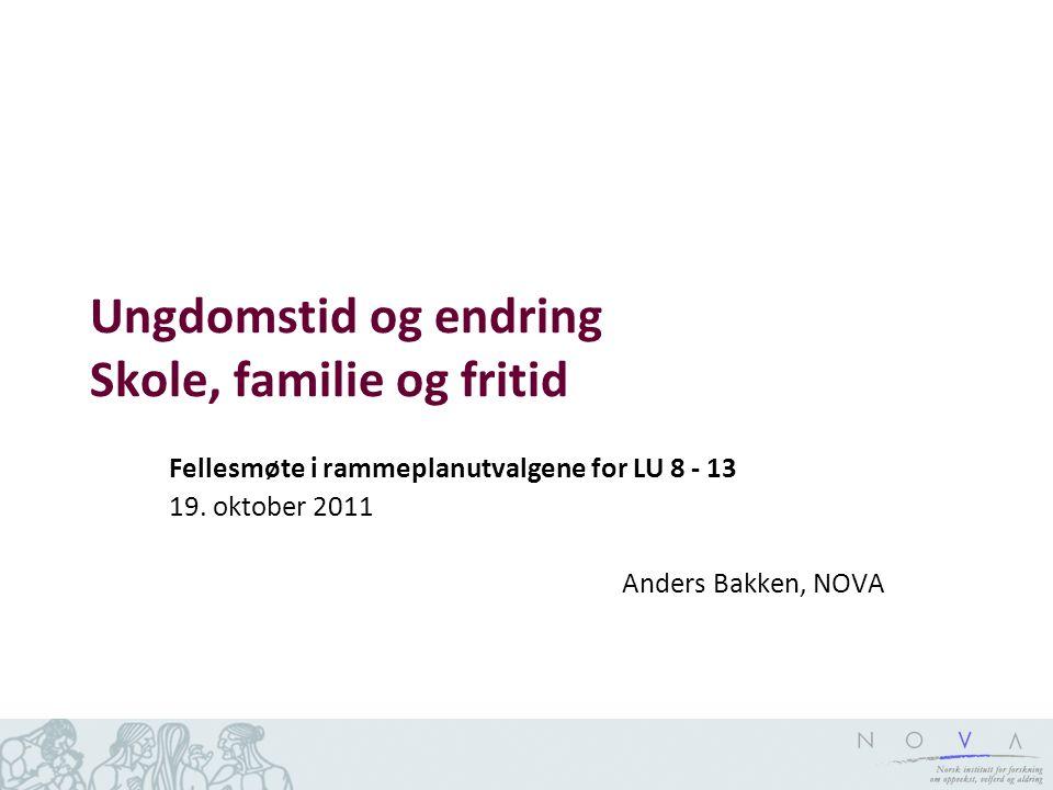Ungdomstid og endring Skole, familie og fritid Fellesmøte i rammeplanutvalgene for LU 8 - 13 19.