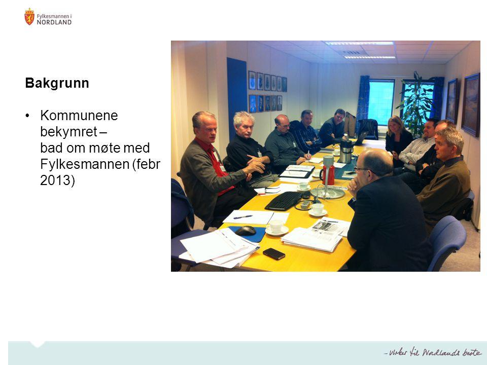 Bakgrunn •Kommunene bekymret – bad om møte med Fylkesmannen (febr 2013)