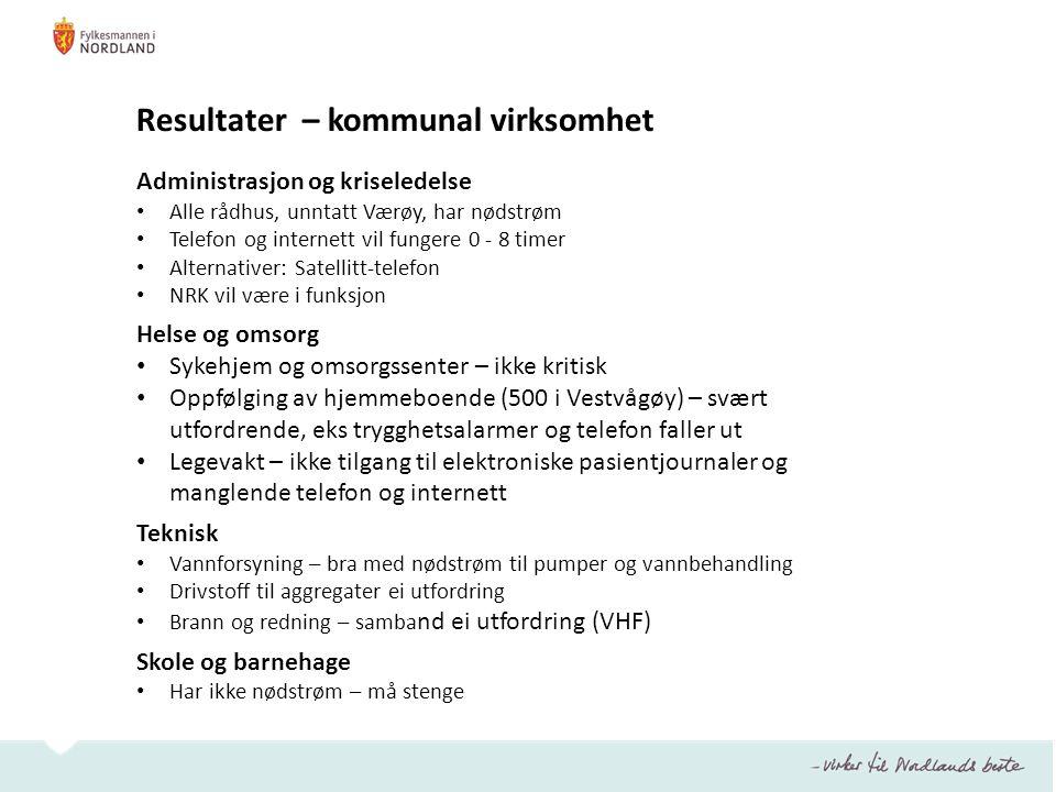 Resultater – kommunal virksomhet Administrasjon og kriseledelse • Alle rådhus, unntatt Værøy, har nødstrøm • Telefon og internett vil fungere 0 - 8 ti