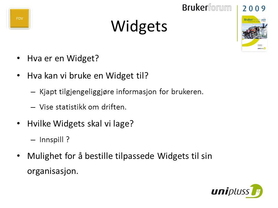 Widgets • Hva er en Widget? • Hva kan vi bruke en Widget til? – Kjapt tilgjengeliggjøre informasjon for brukeren. – Vise statistikk om driften. • Hvil