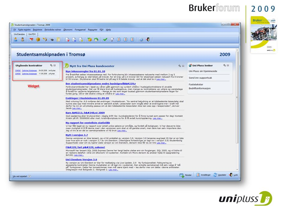 Online brannbok • En internettbasert brannbok som henter informasjon om brannrunder og brannrelaterte anlegg fra Uni Eiendom FDV.