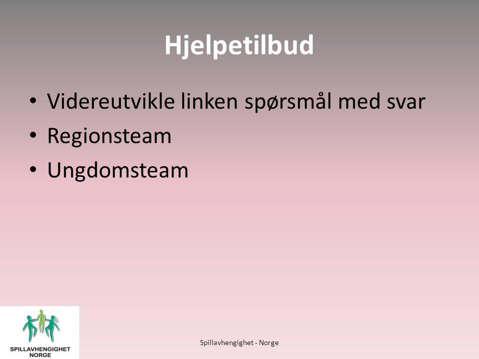 Hjelpetilbud • Videreutvikle linken spørsmål med svar • Regionsteam • Ungdomsteam Spillavhengighet - Norge