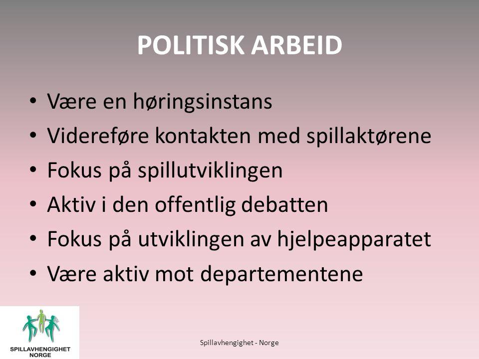 POLITISK ARBEID • Være en høringsinstans • Videreføre kontakten med spillaktørene • Fokus på spillutviklingen • Aktiv i den offentlig debatten • Fokus på utviklingen av hjelpeapparatet • Være aktiv mot departementene Spillavhengighet - Norge