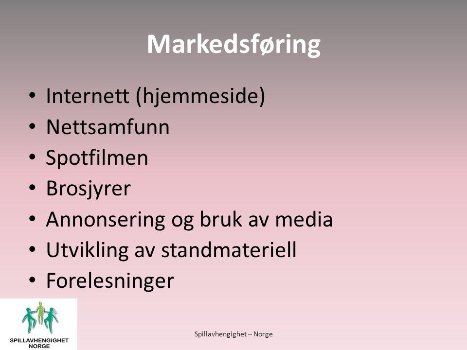 Markedsføring • Internett (hjemmeside) • Nettsamfunn • Spotfilmen • Brosjyrer • Annonsering og bruk av media • Utvikling av standmateriell • Forelesninger Spillavhengighet – Norge