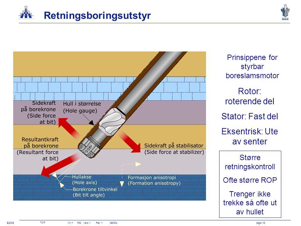 TCP M1.1P30Vers 1 Rev 1090304page 16 ©2009 Retningsboringsutstyr Prinsippene for styrbar boreslamsmotor Større retningskontroll Ofte større ROP Trenge