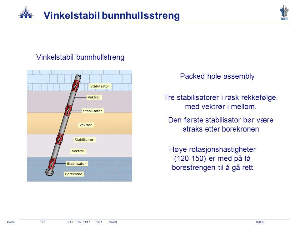 TCP M1.1P30Vers 1 Rev 1090304page 6 ©2009 Vinkelreduserende roterende bunnhullstreng Ingen stabilisator nær borekronen, lav vekt på borekronen og høy rotasjon