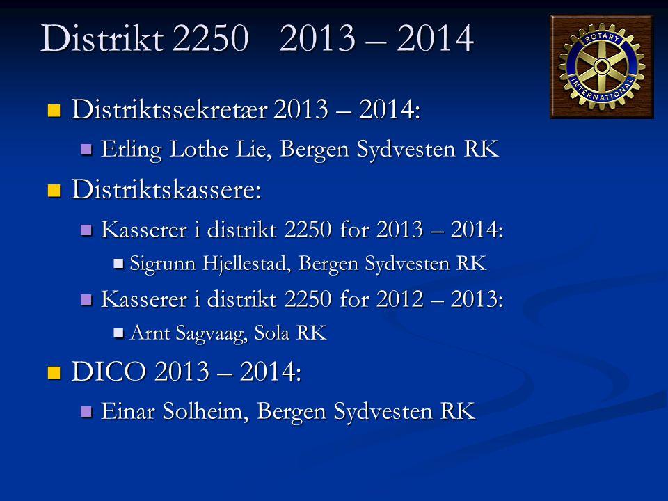 Distrikt 2250 2013 – 2014  Distriktssekretær 2013 – 2014:  Erling Lothe Lie, Bergen Sydvesten RK  Distriktskassere:  Kasserer i distrikt 2250 for