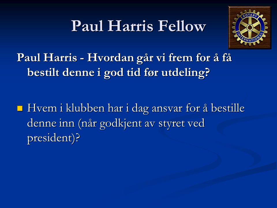 Paul Harris Fellow Paul Harris - Hvordan går vi frem for å få bestilt denne i god tid før utdeling?  Hvem i klubben har i dag ansvar for å bestille d