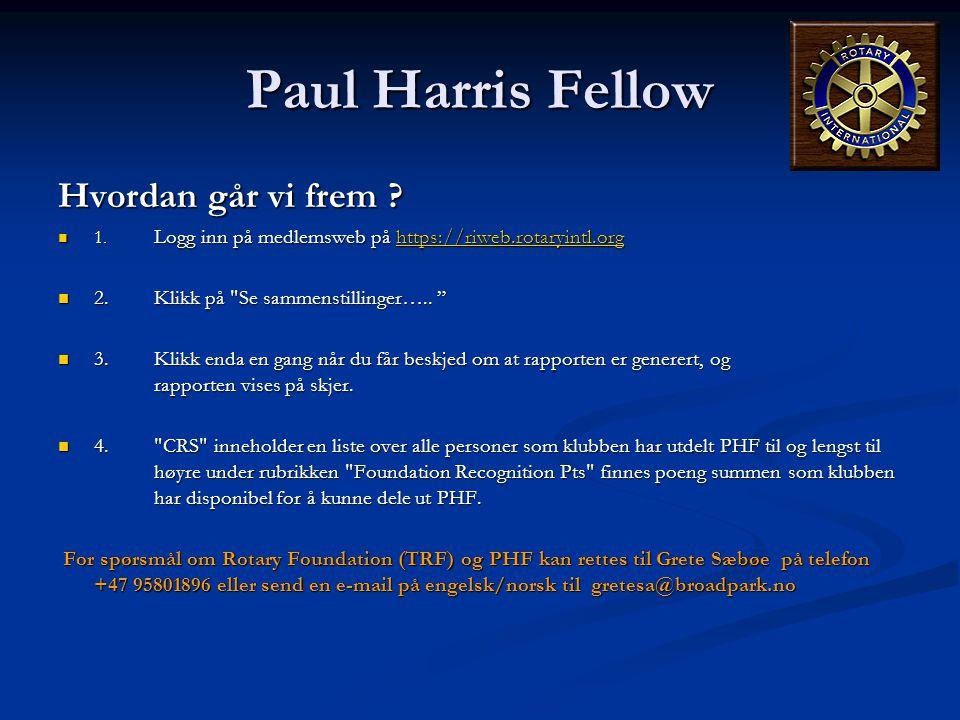 Paul Harris Fellow Hvordan går vi frem ?  1. Logg inn på medlemsweb på https://riweb.rotaryintl.org https://riweb.rotaryintl.org  2.Klikk på