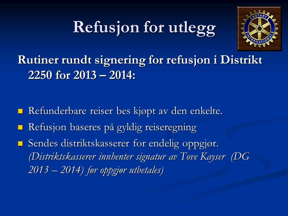 Refusjon for utlegg Rutiner rundt signering for refusjon i Distrikt 2250 for 2013 – 2014:  Refunderbare reiser bes kjøpt av den enkelte.  Refusjon b