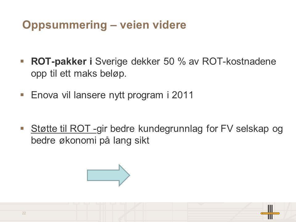 22 Oppsummering – veien videre  ROT-pakker i Sverige dekker 50 % av ROT-kostnadene opp til ett maks beløp.  Enova vil lansere nytt program i 2011 