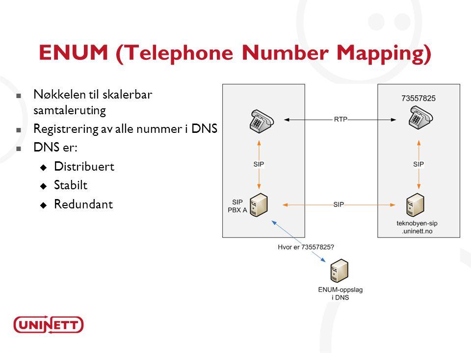 17 ENUM (Telephone Number Mapping)  Nøkkelen til skalerbar samtaleruting  Registrering av alle nummer i DNS  DNS er:  Distribuert  Stabilt  Redundant
