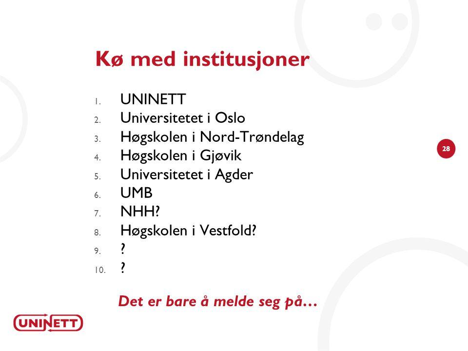 28 Kø med institusjoner 1.UNINETT 2. Universitetet i Oslo 3.