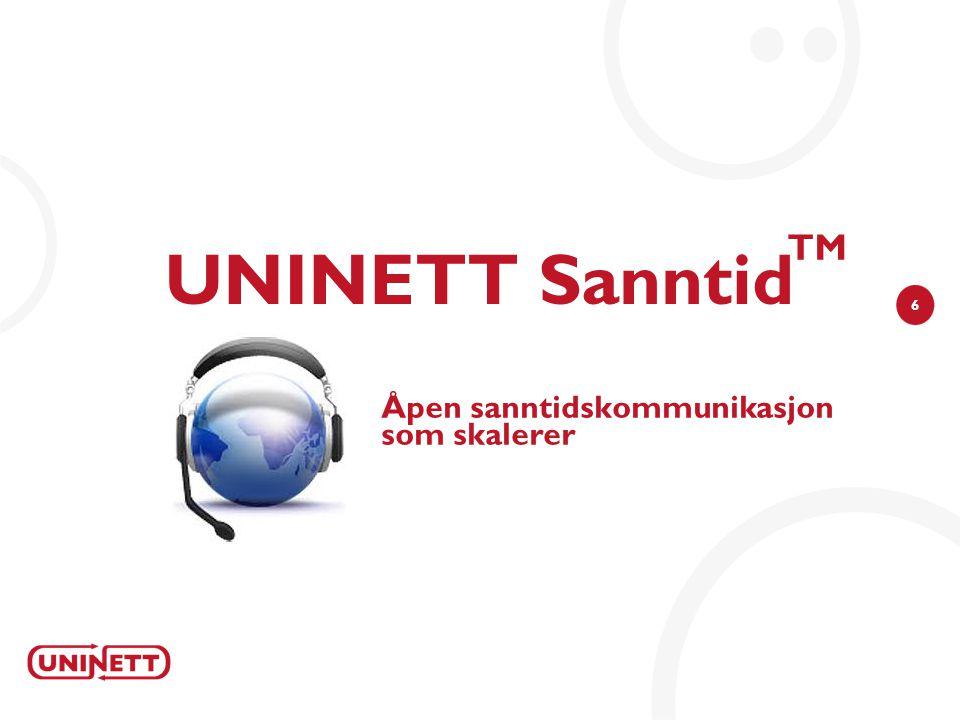 6 UNINETT Sanntid TM Åpen sanntidskommunikasjon som skalerer