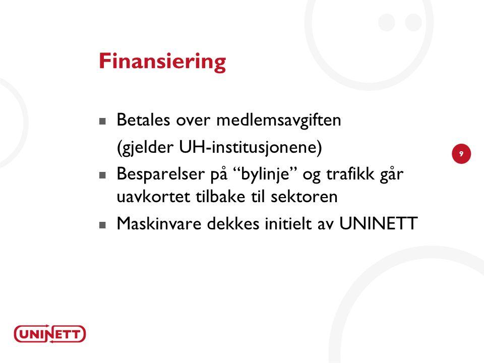 9 Finansiering  Betales over medlemsavgiften (gjelder UH-institusjonene)  Besparelser på bylinje og trafikk går uavkortet tilbake til sektoren  Maskinvare dekkes initielt av UNINETT