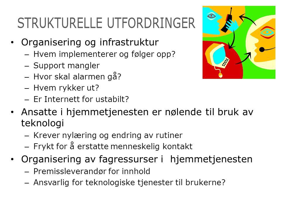 • Organisering og infrastruktur – Hvem implementerer og følger opp? – Support mangler – Hvor skal alarmen gå? – Hvem rykker ut? – Er Internett for ust