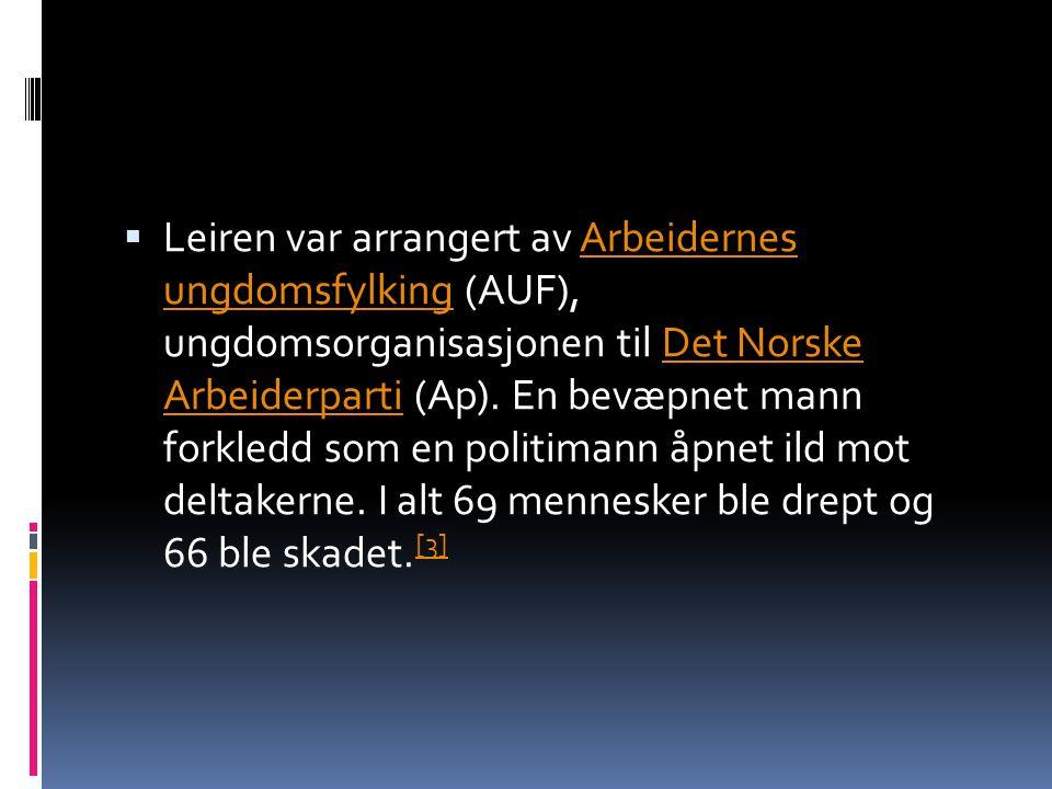 Leiren var arrangert av Arbeidernes ungdomsfylking (AUF), ungdomsorganisasjonen til Det Norske Arbeiderparti (Ap).