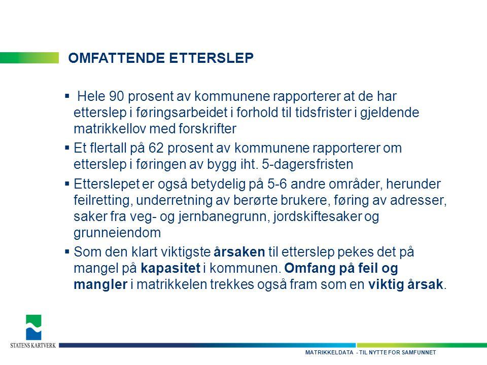 - TIL NYTTE FOR SAMFUNNETMATRIKKELDATA OMFATTENDE ETTERSLEP  Hele 90 prosent av kommunene rapporterer at de har etterslep i føringsarbeidet i forhold