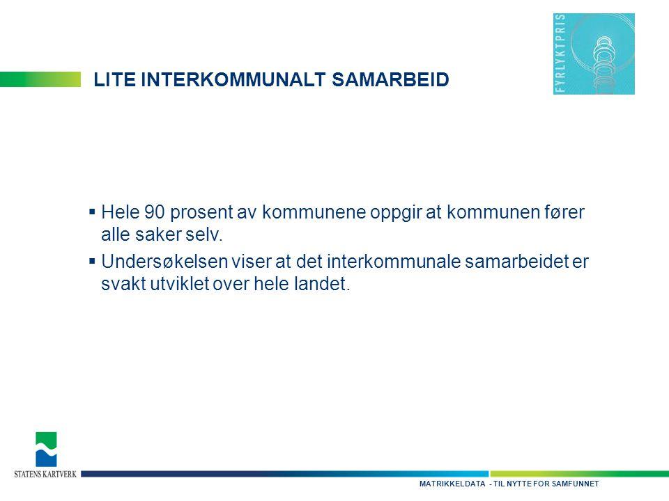 - TIL NYTTE FOR SAMFUNNETMATRIKKELDATA LITE INTERKOMMUNALT SAMARBEID  Hele 90 prosent av kommunene oppgir at kommunen fører alle saker selv.