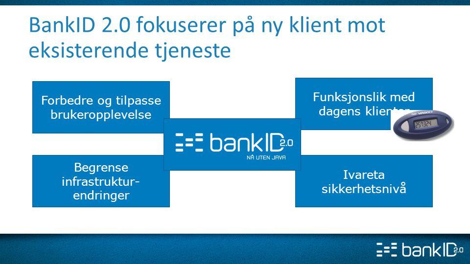 BankID 2.0 fokuserer på ny klient mot eksisterende tjeneste Funksjonslik med dagens klienter Forbedre og tilpasse brukeropplevelse Ivareta sikkerhetsn