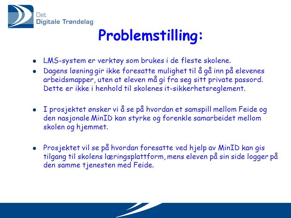 Problemstilling:  LMS-system er verktøy som brukes i de fleste skolene.  Dagens løsning gir ikke foresatte mulighet til å gå inn på elevenes arbeids