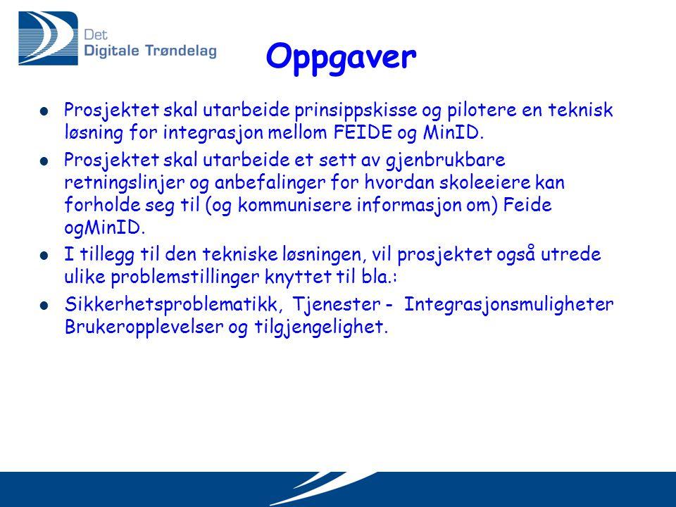 Deltakere i prosjektet  Feide-organisasjonen  Uninett  DIFI  Innherred samkommune  Sør-Trøndelag fylkeskommune  Trondheim kommune  Stjørdal kommune