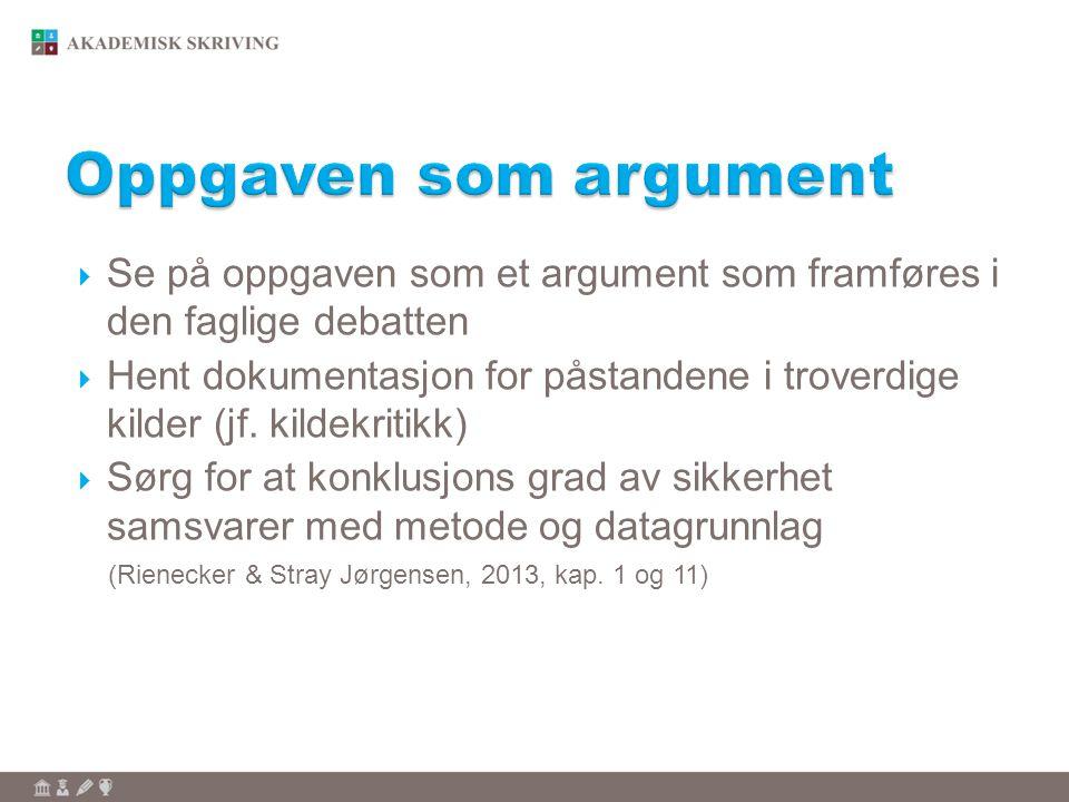  Se på oppgaven som et argument som framføres i den faglige debatten  Hent dokumentasjon for påstandene i troverdige kilder (jf. kildekritikk)  Sør