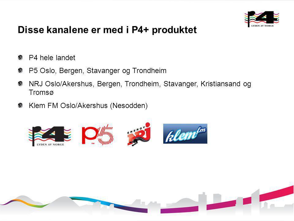 Disse kanalene er med i P4+ produktet P4 hele landet P5 Oslo, Bergen, Stavanger og Trondheim NRJ Oslo/Akershus, Bergen, Trondheim, Stavanger, Kristian