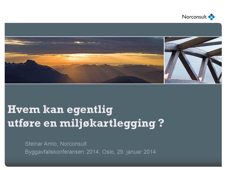 Hvem kan egentlig utføre en miljøkartlegging ? Steinar Amlo, Norconsult Byggavfallskonferansen 2014, Oslo, 29. januar 2014