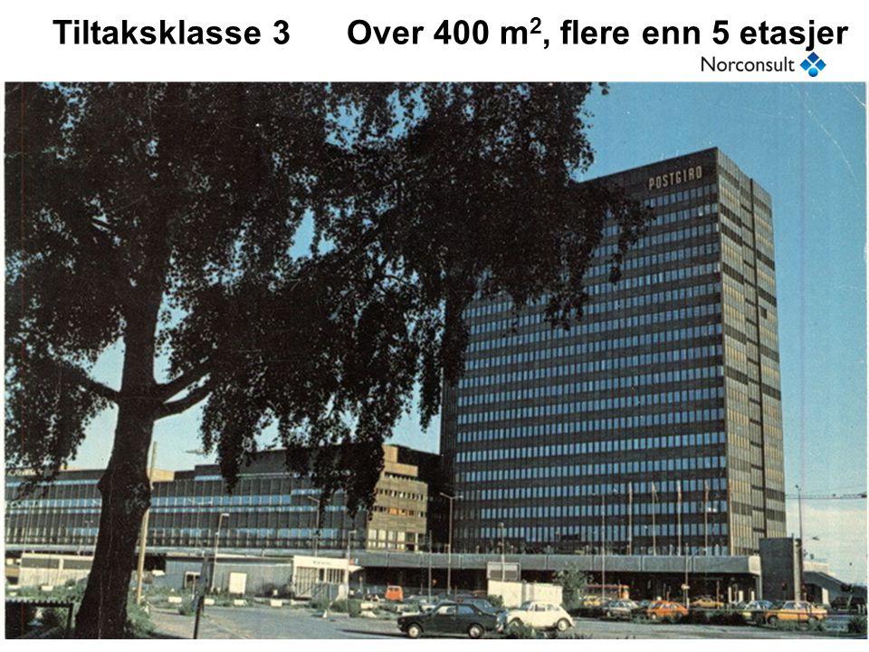 Tiltaksplassering for prosjektering, SAK10 §9-4 Tiltaks- klasse Areal BRAEtasjer 1100 - 400 m2- 2Over 400 m2Inntil 5 3Over 400 m2Høyere enn 5 ANTALL ETASJER sier ingenting om hvor vanskelig miljøkartleggingen er => Antall etasjer er lite egnet som tiltaksplassering (egen mening)