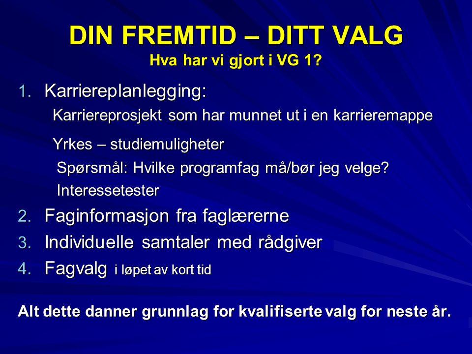 DIN FREMTID – DITT VALG Hva har vi gjort i VG 1. 1.