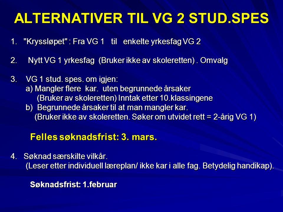 ALTERNATIVER TIL VG 2 STUD.SPES 1. Kryssløpet : Fra VG 1 til enkelte yrkesfag VG 2 2.