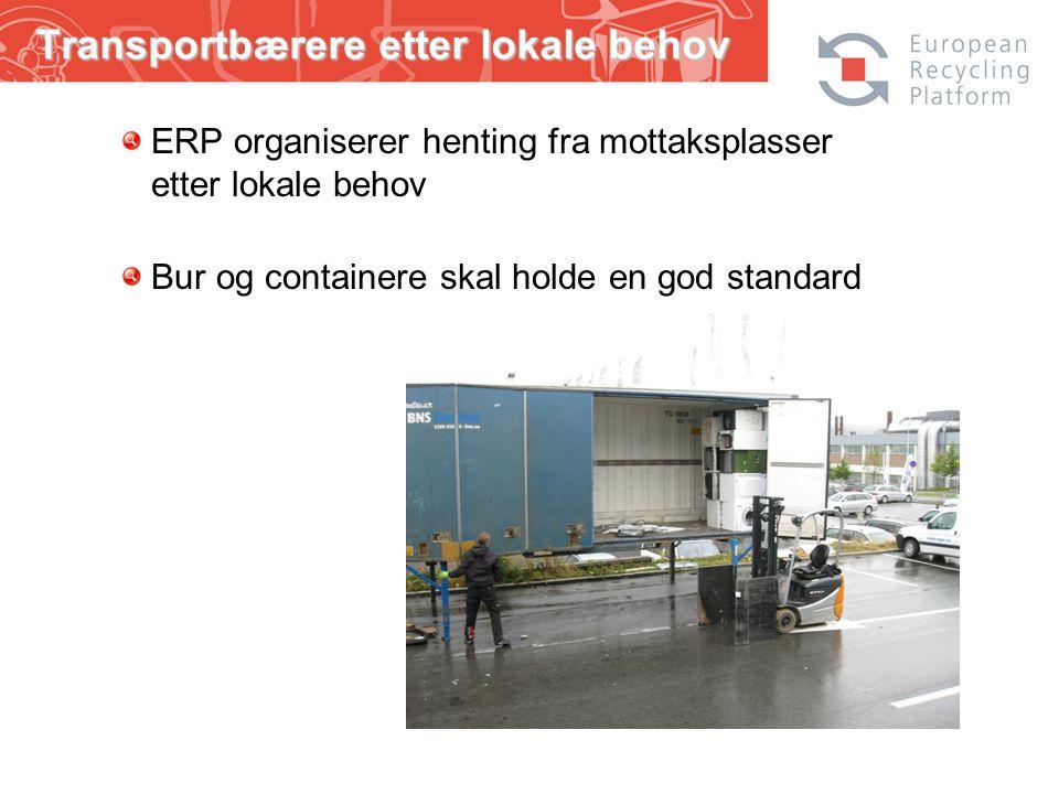 Transportbærere etter lokale behov ERP organiserer henting fra mottaksplasser etter lokale behov Bur og containere skal holde en god standard