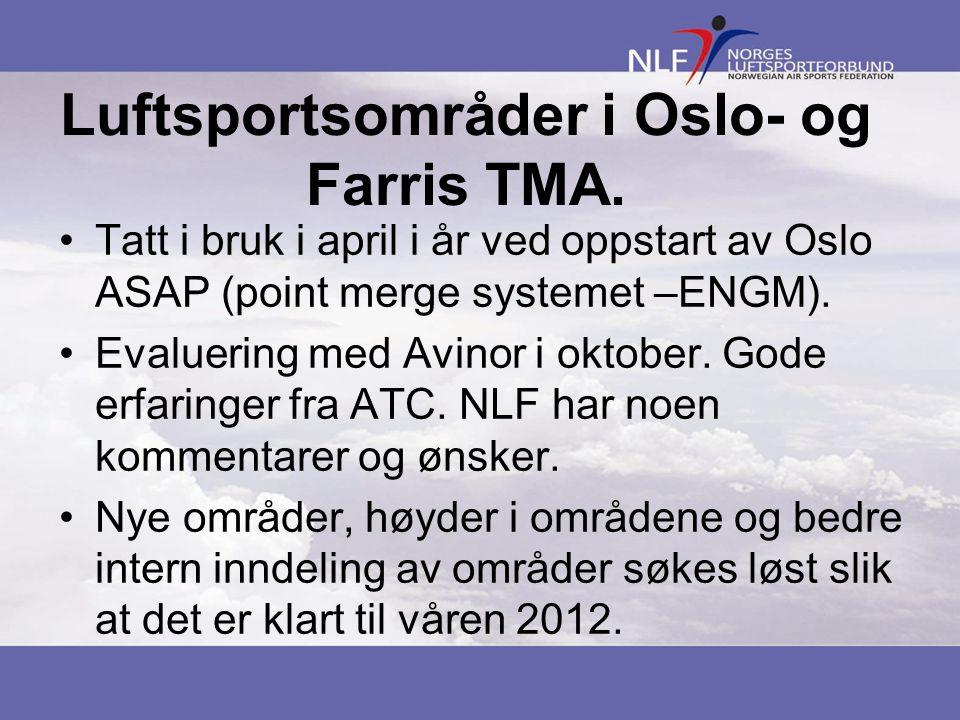 Luftsportsområder i Oslo- og Farris TMA.