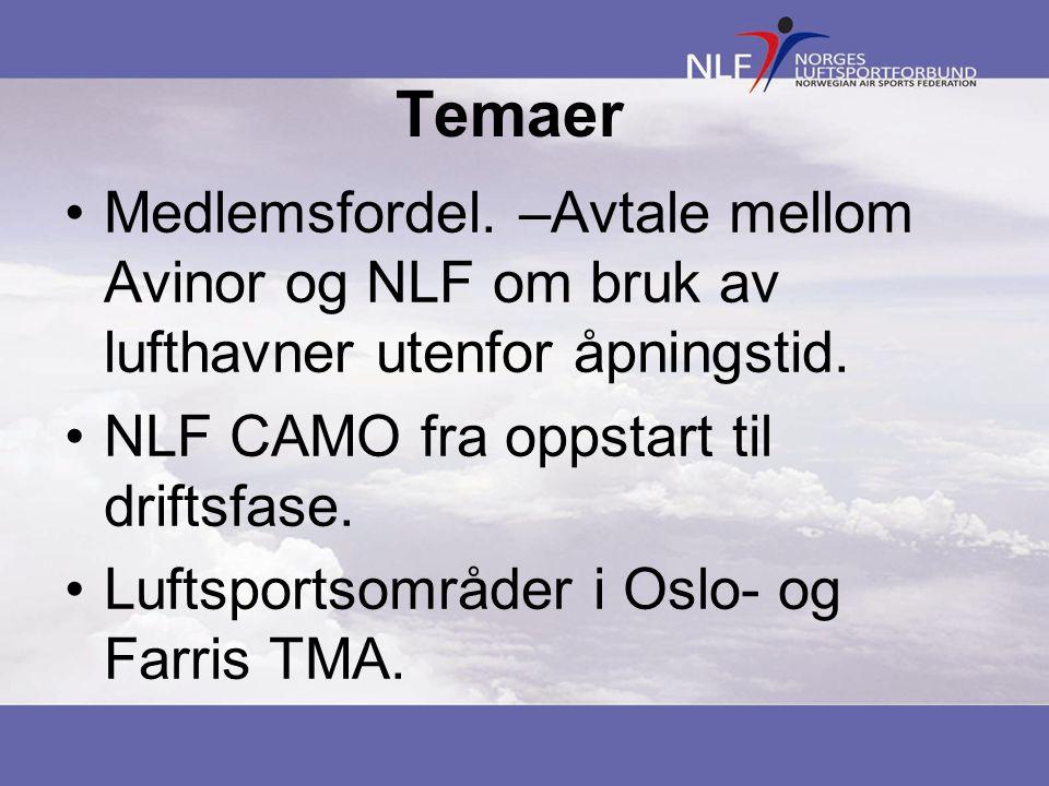 Temaer •Medlemsfordel. –Avtale mellom Avinor og NLF om bruk av lufthavner utenfor åpningstid.