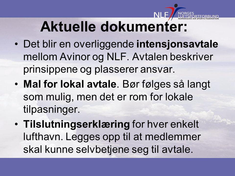 Aktuelle dokumenter: •Det blir en overliggende intensjonsavtale mellom Avinor og NLF.