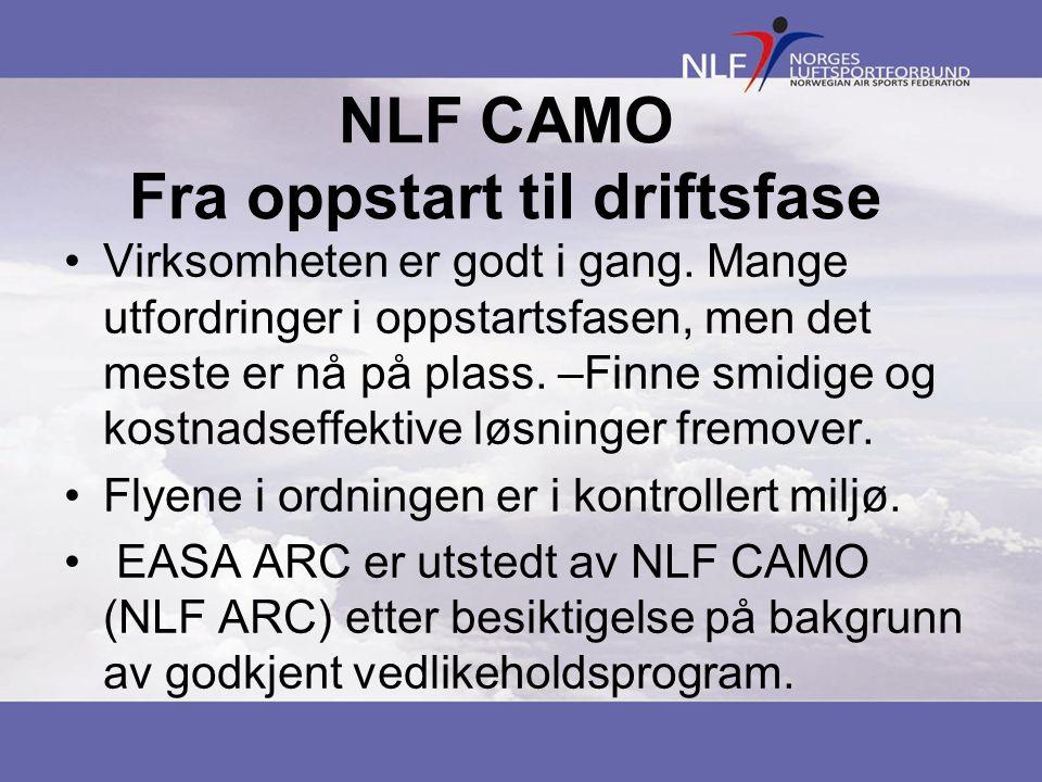 NLF CAMO Fra oppstart til driftsfase •Virksomheten er godt i gang.