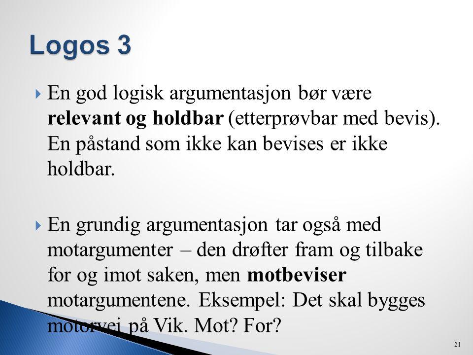  En god logisk argumentasjon bør være relevant og holdbar (etterprøvbar med bevis). En påstand som ikke kan bevises er ikke holdbar.  En grundig arg