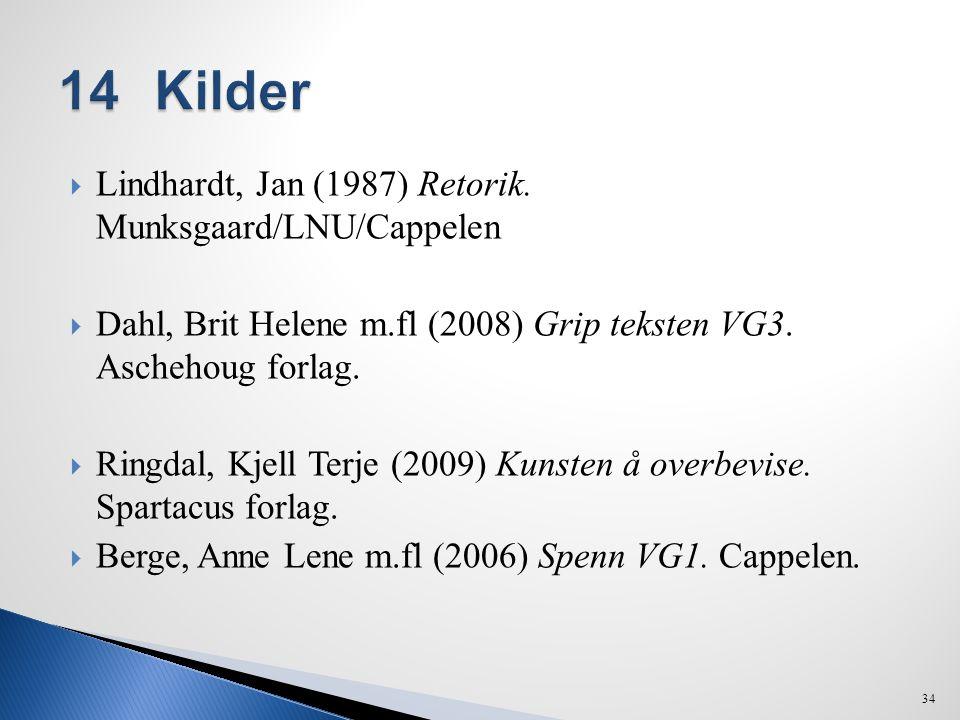  Lindhardt, Jan (1987) Retorik. Munksgaard/LNU/Cappelen  Dahl, Brit Helene m.fl (2008) Grip teksten VG3. Aschehoug forlag.  Ringdal, Kjell Terje (2