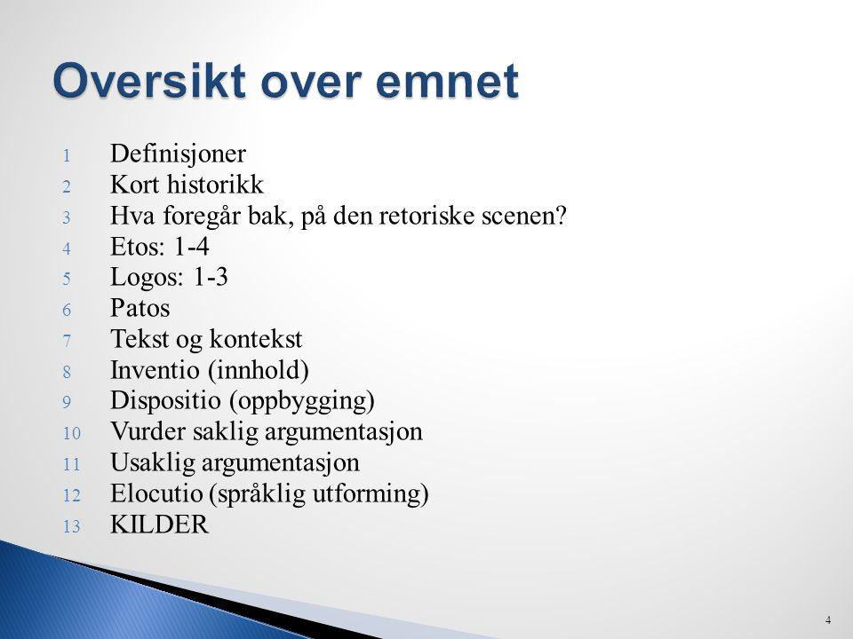 1 Definisjoner 2 Kort historikk 3 Hva foregår bak, på den retoriske scenen? 4 Etos: 1-4 5 Logos: 1-3 6 Patos 7 Tekst og kontekst 8 Inventio (innhold)
