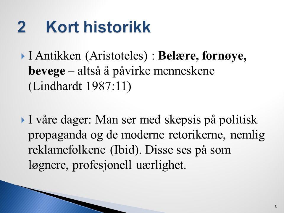  I Antikken (Aristoteles) : Belære, fornøye, bevege – altså å påvirke menneskene (Lindhardt 1987:11)  I våre dager: Man ser med skepsis på politisk