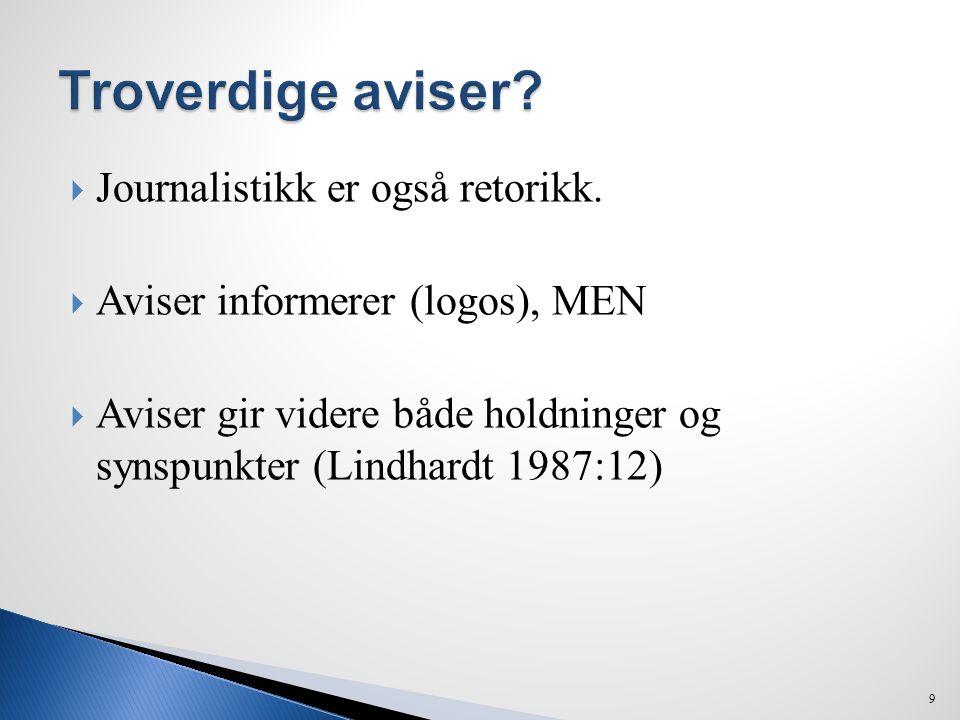  Journalistikk er også retorikk.  Aviser informerer (logos), MEN  Aviser gir videre både holdninger og synspunkter (Lindhardt 1987:12) 9