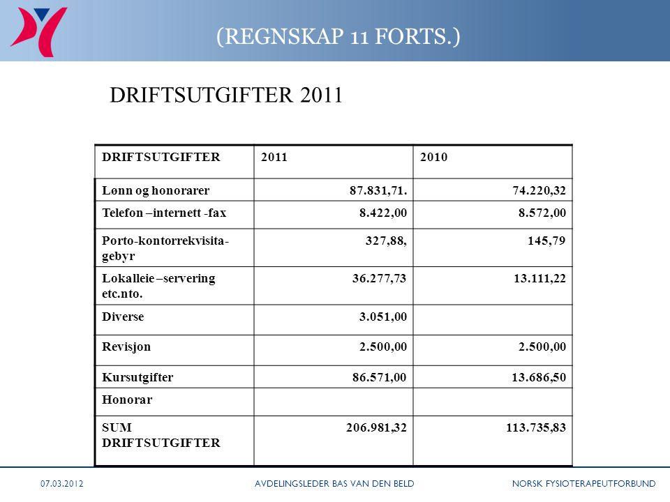 NORSK FYSIOTERAPEUTFORBUND (REGNSKAP 11 FORTS.) DRIFTSUTGIFTER20112010 Lønn og honorarer87.831,71. 74.220,32 Telefon –internett -fax8.422,008.572,00 P