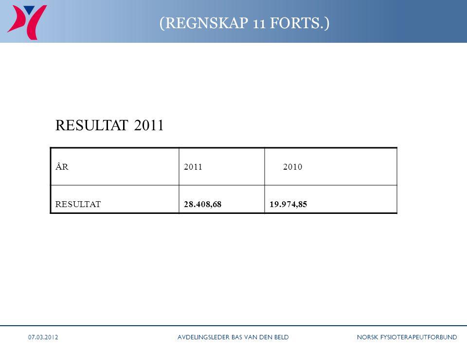 NORSK FYSIOTERAPEUTFORBUND (REGNSKAP 11 FORTS.) ÅR2011 2010 RESULTAT28.408,6819.974,85 RESULTAT 2011 AVDELINGSLEDER BAS VAN DEN BELD07.03.2012