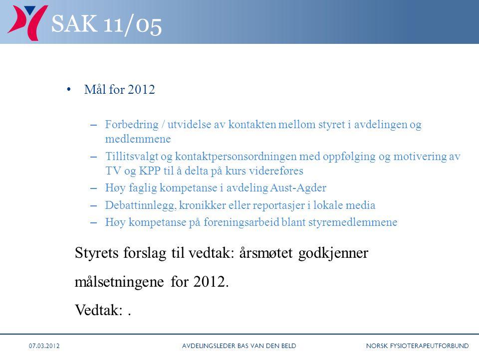 NORSK FYSIOTERAPEUTFORBUND SAK 11/05 • Mål for 2012 – Forbedring / utvidelse av kontakten mellom styret i avdelingen og medlemmene – Tillitsvalgt og k