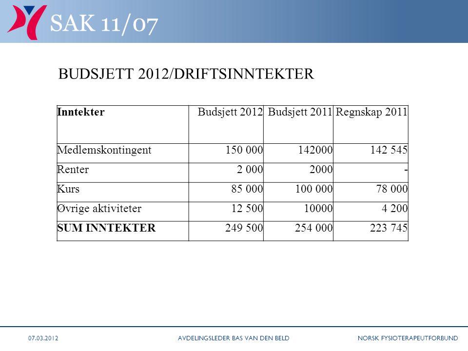 NORSK FYSIOTERAPEUTFORBUND SAK 11/07 BUDSJETT 2012/DRIFTSINNTEKTER InntekterBudsjett 2012Budsjett 2011Regnskap 2011 Medlemskontingent150 000142000142