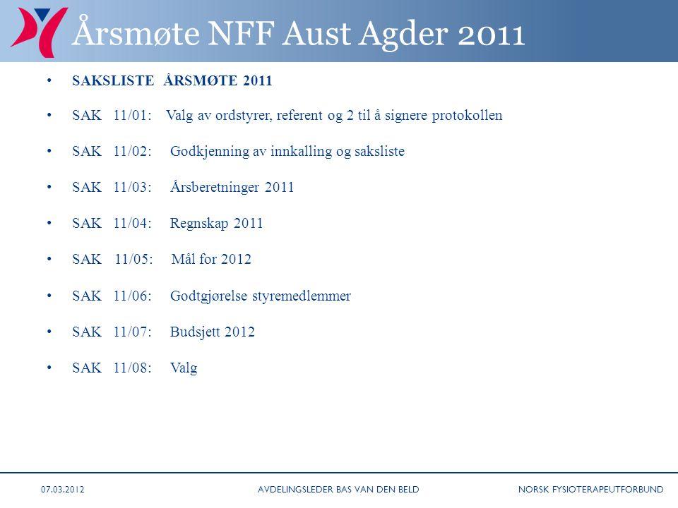 NORSK FYSIOTERAPEUTFORBUND Årsmøte NFF Aust Agder 2011 • SAKSLISTE ÅRSMØTE 2011 • SAK 11/01: Valg av ordstyrer, referent og 2 til å signere protokolle