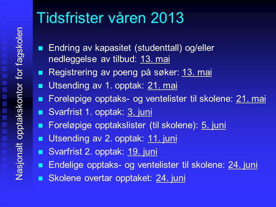Tidsfrister våren 2013   Endring av kapasitet (studenttall) og/eller nedleggelse av tilbud: 13.